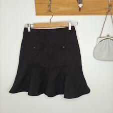 PORTMANS size 8 mini skirt peplum pockets button detail black office business