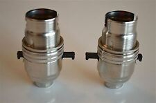 PAIR SWITCHED NICKEL LIGHT FITTING LAMP BULB HOLDER SWITCH HOLDER 1/2 INCH NR8