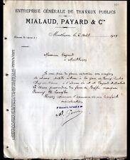 "MONTLUCON (03) ENTREPRENEUR en TRAVAUX PUBLICS ""MIALAUD & PAYARD"" en 1909"