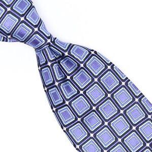 Ike Behar Mens Silk Necktie Sky Blue Navy White Mosaic Tile Check Woven Tie