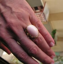 Estate Silver Gold Pink Coral Original Ring Size 8 Made in Italy Vintage
