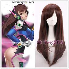 Overwatch OW D.va Cosplay wig 60cm long straight dark brown wig +a wig cap