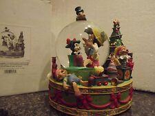 V/RARE- DISNEY CHRISTMAS TREE PINOCCHIO,FIGARO,JACK SNOWGLOBE MUSIC BOX W/BOX