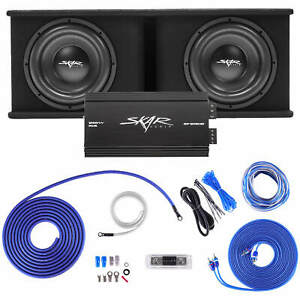 "SKAR AUDIO DUAL 12"" 2400W SDR COMPLETE BASS PKG LOADED SUB BOX - AMP - WIRE KIT"