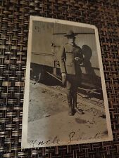 WWI USA Soldier Standing next to Railroad Car dated 1918 War