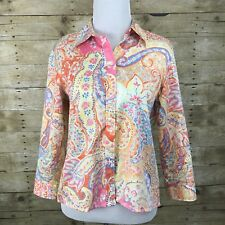 Ralph LAUREN Petite Bright Multicolored Paisley Print Button Down Shirt Top PM