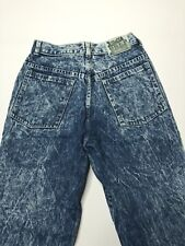 Vtg 80s Used Womens 26x26 Jeans Acid Wash Marbled Blue Denim Medium Straight Leg