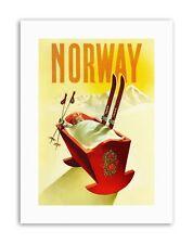 Noruega cuna de Esquí Nieve Invierno Sport lona impresiones artísticas de viaje