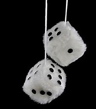 EFORCAR(R) 2 PCS HANGING WHITE FUZZY DICE Muscle Car Auto Accessory Ornaments No