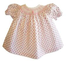 """Pink w/ Dark Pink Polka Dot & Embroidered Rose fits 15"""" Doll Clothes Bitty Baby"""