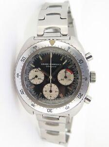 .Vintage Girard Perregaux GP Olimpico 3 Reg Chronograph Cal27-0 Steel Watch 9238