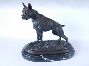 VINTAGE BRONZE BOXER DOG IN THE STYLE OF MENE ~ FREE UK POSTAGE