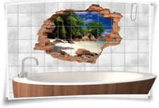 Fliesen-Bild Wand-Durchbruch 3D Fliesen-Aufkleber Insel Strand Meer Palmen Sonne