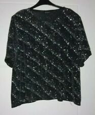 Berkertex Black & Silver Short Sleeve Top Size 24