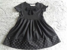 H&M GIRLS DRESS AGE 4-6 YEARS BLACK POLKA DOTS PARTY NEW