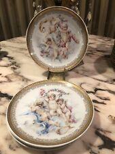 Vintage Signed Depos T. Limoges 4 Decoration Porcelain Plates Made In Italy