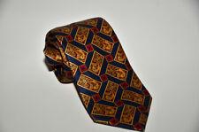Lanvin Paris 100% Silk Satin Tie Geometric Multi-color W/Golden/Red/Black