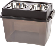 Elevated Feeder with Airtight Storage IRIS Large Each bowl holds 2 quarts Black