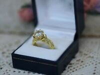Vintage Jewellery Gold Ring White Sapphires Antique Deco Jewelry P 8