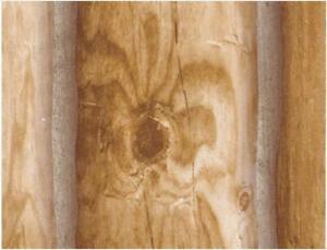 Wallpaper Lodge Look Log Cabin Golden Tan Brown, Smooth Not Textured