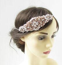 Oro Rosa & Plateado Diamante Accesorio para pelo Flapper BODA Diadema Vintage