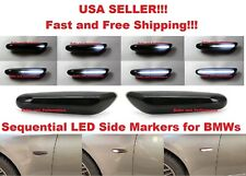 SMOKED LENS DYNAMIC SEQUENTIAL WHITE LED SIDE MARKER LIGHTS for BMW 1 3 5 SERIES