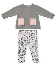 Andy & Evan Girls/Toddler 29048-4Y4 Shimmer Gray & Graphic Leggings Set 9-12 m