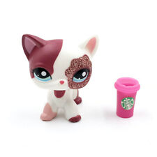 Littlest Pet Shop cat LPS toys #2291 cute pink short hair cat with Accessories