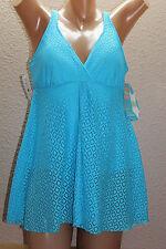 NWT Swim Solutions Azure Blue Crochet Fly Away Swimsuit Swimdress Sz 8 NEW #S12