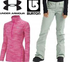 lot BURTON denim waterproof snowboard ski pant UNDER ARMOUR thermal top women xl