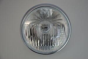 """7.5"""" Chrome Steel Motorcycle Headlight 12v 55/60w H4 Park/Side Light UK Retailer"""