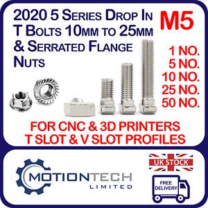 T-Bolt M5 Drop In Hammer & Flange Nut 2020 Series Aluminum V Slot T Slot 6mm Lot