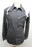 ALEXANDER MCQUEEN Grey & White Harness Long Sleeve Button Shirt Size IT50 UK40