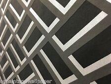 Feature Wallpaper Designer Black and Grey 3D Block effect Modern Geometric Funky