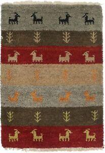 Stripes Contemporary Handmade Multicolored 2X3 Indo-Gabbeh Oriental Rug Carpet