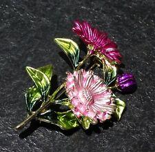 Pink Flower Daisy Enamel Fashion Brooch Pin Brand New FREE P&P