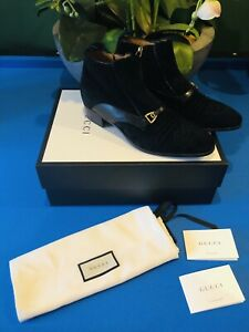 Gucci Shoes Black Suede Boots Quent Size 11 Uk Or 45 Europe Genuine