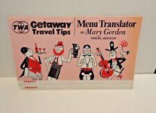 Vintage TWA Menu Translator - French, German, Spanish, Italian 1973 NOS