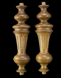 Architectural Antique French Pair of Walnut Wood Post Pillars Columns Lamp