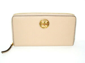NWT Tory Burch Carson Leather Continental Zip Wallet Devon Sand BRAND NEW $228