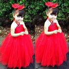 Cute Flower Girl Halter Dress Wedding Pageant Party Child Kids Bridesmaid Dress