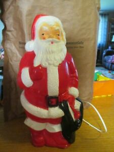"""Vintage Small 12"""" Lighted Blow Mold Christmas Santa Claus Decoration 1968 Empire"""