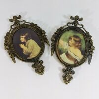 2 Small Vintage Ornate Oval Metal Pictures Framed Italy girls prayer child