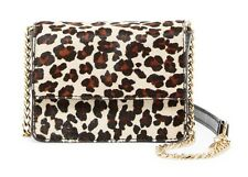 Alice Olivia Mini Clee Genuine Calf Hair Leopard Leather Crossbody Bag MSRP $330