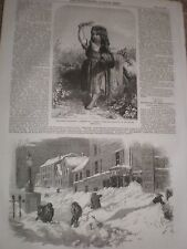 Deep snow fall a street in New Bedford Massachusetts 1857 print