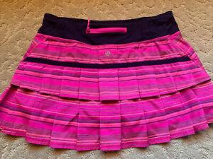 VEUC lululemon Run Pace Setter Skirt SZ 6 Elevation Stripe Pow Pink/Deep Indigo