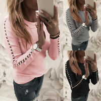 Women's Pullover T-Shirt Blouse Slim Casual Sleeve Long Ladies Tops Pearl Hollow