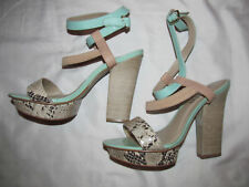 MIUCHA mint green and snake print strappy ankle high heel sandals shoes 6