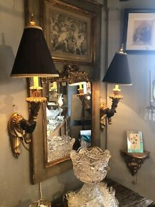 Pair of Vintage 1990s Blackamoor Style Gripping Hand Wall Sconces Torch Theme