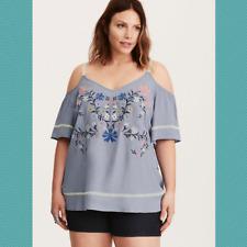 Torrid Blue Floral Embroidered Cold Shoulder Top | Women's 2X
